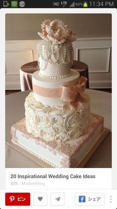 ウェディングケーキ構想♡ |Lila's wedding note♡ pink white rose peal ribbon