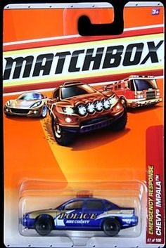 Matchbox Emergency Response Blue Chevy Impala Police by Matchbox. $1.99. made in 2009. ages 3+. 1/64 scale. #57 of 100. diecast body and plastic chassis. Matchbox Emergency Response Blue Chevy Impala Police