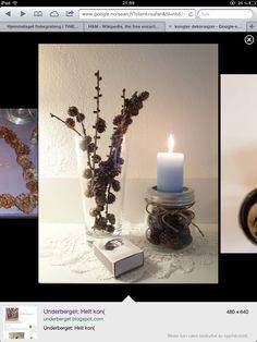Høst dekorasjon Candle Holders, Candles, Wreaths, Christmas, Diy, Decoration, Natural, Home Decor, Candlesticks