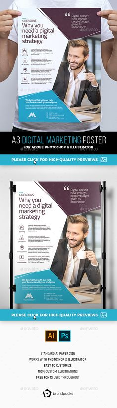 Digital Marketing Poster Template PSD, AI Illustrator