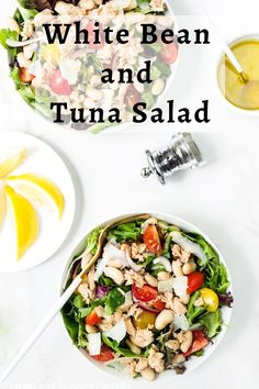 An easy recipe for a healthy White Bean and Tuna Salad loaded with ingredients high in protein and fiber. This salad uses pantry staples takes only 15 minutes to make and keeps you satisfied until your next meal. Best Lunch Recipes, Healthy Meal Prep, Healthy Salad Recipes, Real Food Recipes, Easy Recipes, Vegan Recipes, Yummy Food, Healthy Dinners For Kids, Quick Meals