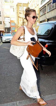 Love the crochet maxi dress & natural color combo of leather & fiber on Jennifer Lawrence