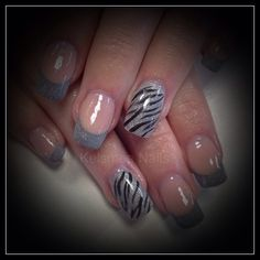 Young Nails acrylic silver zebraprint
