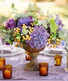 ♆ Blissful Bouquets ♆ gorgeous wedding bouquets, flower arrangements floral centerpieces - purple hydrangeas
