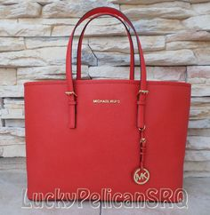 b486de9b3a73 Michael Kors Jet Set Travel Mandarin Medium Jet Set Multifunction Tote Bag  NWT  MichaelKors