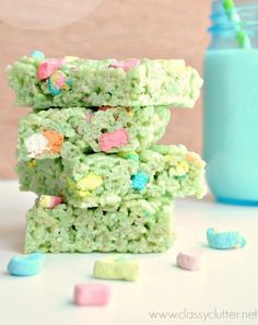St. Patricks Day Rice Krispie Treats With Lucky Charms Marshmallows