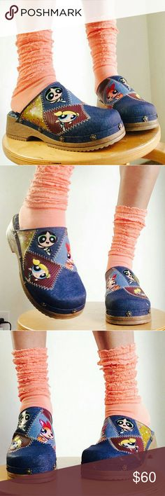 Rare vtg Y2K Powerpuff Girls patchwork mules These puppies will haunt you forever if you don't get them... promise!  Vintage Y2K Powerpuff Girls clog size 4uk. Size 6 US. I am a solid 6.5 and fit me too.  Coolest colorblock patchwork design in denim material and wooden flirty platform with floral shapped rivets.   Blossom, Bubbles and Buttercup in all their glory... You don't see these often ?  No trades  powerpuffgirls nickelodeon sandals floral color block colorful jean wood platforms unif…