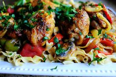 Pioneer Woman-Chicken Cacciatore. I used chicken breasts and cooked for 45 min.
