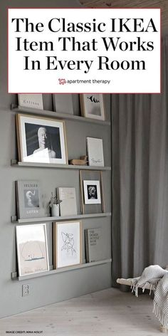 Proof This IKEA Classic Works in Every. The RIBBA ledges are a classic IKEA item that can be used in every single room of the house—and these photos are proof. Ikea Picture Ledge, Picture Shelves, Home Design Decor, Diy Home Decor, Interior Design, Design Ideas, Ikea Furniture Hacks, Dresser Furniture, City Furniture