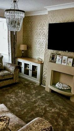 Fabulous Living Room Wallpaper Design For Your home 3d Living Room, Home And Living, Living Room Designs, Room Wallpaper Designs, Damask Wallpaper, Drawing Room Wall Design, Modern House Design, Luxury Living, Decoration