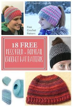 Messy Bun Crochet Hat, Pony Tail Crochet Hat, Open crochet hat, updo hats. Do you like the new ponytail hat trend? Looking for free patterns? Find them here. There is still time to make a few for Christmas presents. Quick and easy crocheted xmas gift