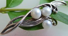 Natural real pearls: Russian Brooch in Shape of Flowers - Lily Of The Valley