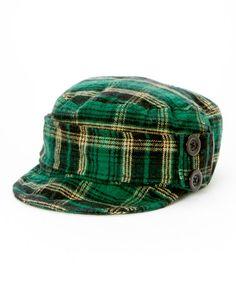 Look at this #zulilyfind! Green Plaid Cadet Cap by Jeanne Simmons Accessories #zulilyfinds