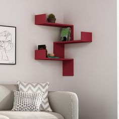 Add luxury and comfort to any room in your home by choosing this Ada Home Decor Walker Burgundy Mid-Century Modern Wall Shelf. Decor, Corner Shelf Design, Shelves, Interior, Mid Century Modern Walls, Home Decor, Corner Shelves, Corner Storage, Living Room Designs