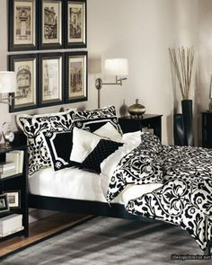 Traditional Black and White Bedroom Design Inspiration with Wooden Black Frame Bed and Floral Pattern Bedding Set also Elegant Black Flower Vase