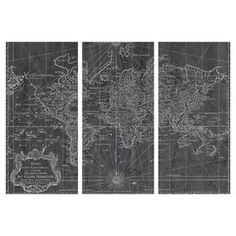 "Bring rich history to your home with this classic triptych canvas print, showcasing a map of the world circa 1778. Made in the USA.  Product: Set of 3 canvas printsConstruction Material: Fine art canvas and woodFeatures: Includes a certificate of authenticity by the artist Made in the USA  Arrives ready to hang with all hardware included  Dimensions: 36"" H x 17"" W x 3"" D eachCleaning and Care: Dust lightly using a soft, clean, lint-free cotton"