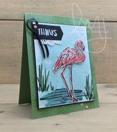 Thanks Flamingo | Stampin\' Up! | Fabulous Flamingo #literallymyjoy #flamingo #thanks #thankyou #watercoloring #BloggingFriendsBlogHop #flirtyflamingo #powderpink #tranquiltide #20172018AnnualCatalog