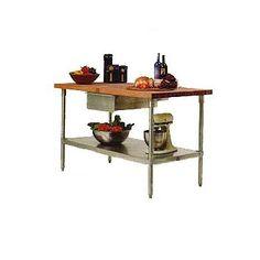 John Boos Cucina Americana Prep Table with Wood Top