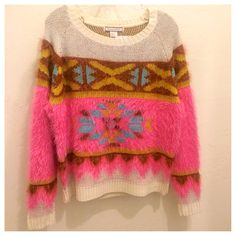 """""""Flying Tomato"""" Fuzzy Bright Navajo Print Sweater #bluesandshoes #fall #2014 #trends #fashion #style"""