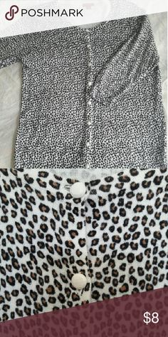 Cute animal print cardigan sweater. 3/4 length sleeves.   White buttons. XL Merona Sweaters Cardigans