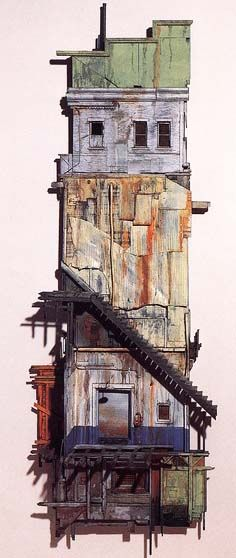 Michael C. McMillen Architecture Drawing Art, Architecture Artists, Architecture Design, Wood Art, Dioramas, Architectural Painting, Metal Drawing, Free Fitness, Building Drawing