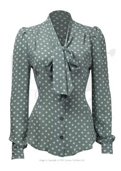 Gorgeous and demure 1940s style 'Pussy Bow' blouse in a stunning pale sage green with white polka dots crepe fabric - feels and behaves really vintage.   1940s styling includes, top shoulder yoke with gathers and gather bishop sleeves that gather into the cuff. Elegant and just like vintage - fitted just a little into the waist and designed to tuck into our trousers or skirts OR looks just as good belted!