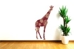 Brown Giraffe Wall Decal, Kids wall Decal, Tall Giraffe Decal, Safari Animal Wall Decal, Kids Bedroom Decor, Baby  Shower Gift, Zoo Animal by Popitay on Etsy