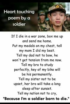 It's a heart touching poem by a soldier which I accidentally saved in this board. So, please don't come at me on this matter Life Lesson Quotes, Real Life Quotes, Reality Quotes, War Quotes, Wisdom Quotes, Funny Quotes, Book Quotes, Inspirational Quotes About Success, Positive Quotes