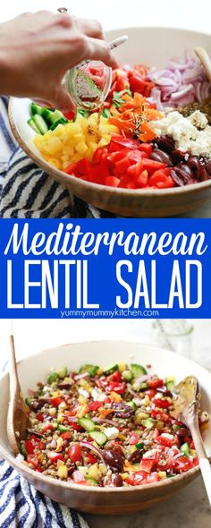 Mediterranean Greek Lentil Salad (Vegan)