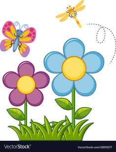 Butterfly and dragonfly in flower garden illustration , . Art Drawings For Kids, Drawing For Kids, Easy Drawings, Cartoon Flowers, Garden Drawing, Garden Illustration, Applique Patterns, Painted Rocks, Adobe Illustrator