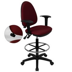 Flash Furniture Mid-Back Burgundy Fabric Multi-Functional Drafting Chair with Adjustable Lumbar Support and Height Adjustable Arms [WL-A654MG-BY-AD-GG]
