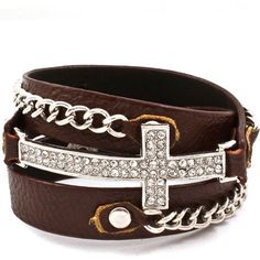 Cross and Chain Wrap Bracelet Brown Band $20.00 ($20) ❤ liked on Polyvore