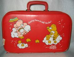 Vintage Care Bears Red Vinyl Suitcase 1983 by TCGHVintage on Etsy, $34.99
