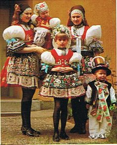 Women and children in Kyov's folklore attire, Southeast Moravia, Czech Republic Folk Costume, Costumes, Art Populaire, Fairytale Fashion, Bohemian Blouses, Costume Collection, Central Europe, My Heritage, People Of The World