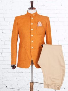 Shop Solid orange jute jodhpuri suit online from India. Wedding Dresses Men Indian, Wedding Dress Men, Wedding Suits, Wedding Men, Wedding Attire, Nehru Jacket For Men, Nehru Jackets, Buy Suits, Men Dress Up