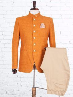Solid Orange Jute Jodhpuri Suit