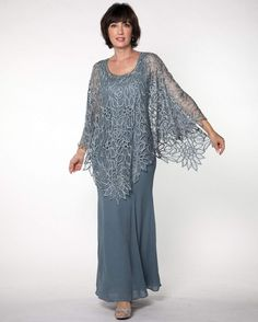This Special Occasion Dress is RETURNABLE! This gorgeous floral crochet poncho is elegant, comfortable and easy to wear gives trendy young looking, perfect for any event. Color: Dusty Rose Silk Hand-made Dry Clean Imported Mother Of The Bride Plus Size, Mother Of The Bride Dresses Long, Mother Of Bride Outfits, Mothers Dresses, Mother Of The Groom Suits, Long Sleeve Evening Gowns, Evening Dresses Plus Size, Mob Dresses, Fashion Dresses