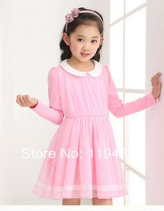 New Long Sleeve Baby Girls Dress Chiffon Doll Collar One Piece Dress Casual Princess dress Summer Children Dresses Clothing DF02-in Dresses ...