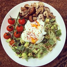 """3,180 Likes, 31 Comments - Alice (@clean_eating_alice) on Instagram: """"A late post of this mornings breakfast! Chilli spiced poached eggs on creamy pesto courgetti, with…"""""""