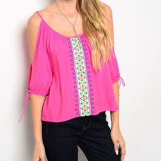 Gorgeous fuchsia cold shoulder embroidered blouse! So pretty- gorgeous color with embroidered front! love! Tops Blouses