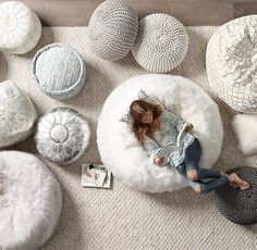 RH TEEN's Braided Metallic Leather Pouf:Interwoven braided strands of solid and metallic leather set our pouf apart. A deconstructed round edge adds to its rough-hewn glamour, while the dense fill provides structured seating. - bags for shopping, shop bags online, bag in a bag *ad