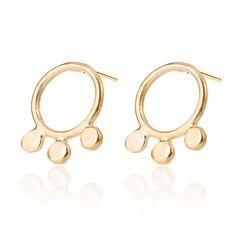 Trio 14k Gold Stud Earrings, Gold Circles Earrings, Bubbles Stud Earrings, Triple earrings