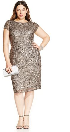 Plus Size Sequined Scoop-Back Dress