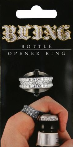 Island Dogs Bling Bottle Opener Ring by Island Dogs. $7.29. Open bottles anywhere. Stainless steel. One size fits most. Now you can wear your bottle opener as a ring. The Bling Bottle Opener Ring is a must have accessory. The bottle opener ring is made of stainless steel with a bling front that is one size fits most women. The ring can open bottles from any finger. Impress your friends at tailgate or parties and never have to search for a bottle opener again.