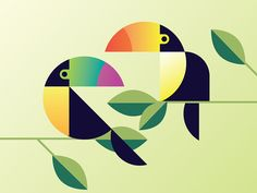 Some toucans for my summer print series. Still working on the placement of those pesky leaves!