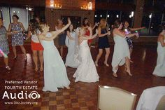 A bride leads the dancing in the Le Jardin Room at #CantignyPark in Wheaton. Fourth Estate Audio provides the music. #ChicagoDJ #ChicagoWeddingDJ http://www.discjockey.org/cantigny-park/