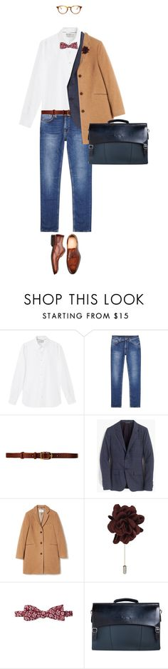 """Men's Fashion, dress down Friday #businessattire ."" by fashionablychicny ❤ liked on Polyvore featuring MANGO MAN, Nudie Jeans Co., CO-OP Barneys New York, J.Crew, Folk, Lanvin, 14th & Union, Santoni, raen and men's fashion"