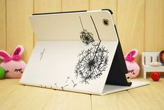 Elegant white Leather Dandelion iPad Air case Cute by charmscrafts, $22.69