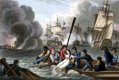 British sailors rescuing enemy crew from the sea at the Battle of Trafalgar 21st October 1805 http://www.britishbattles.com/waterloo/battle-trafalgar.htm