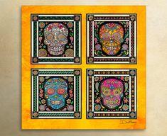 "Sugar Skulls Art by Artist Dan Morris titled ""Dia de los Muertos"". Day of the Dead, All Saints Day, Sugar Skull decor,skull decor"